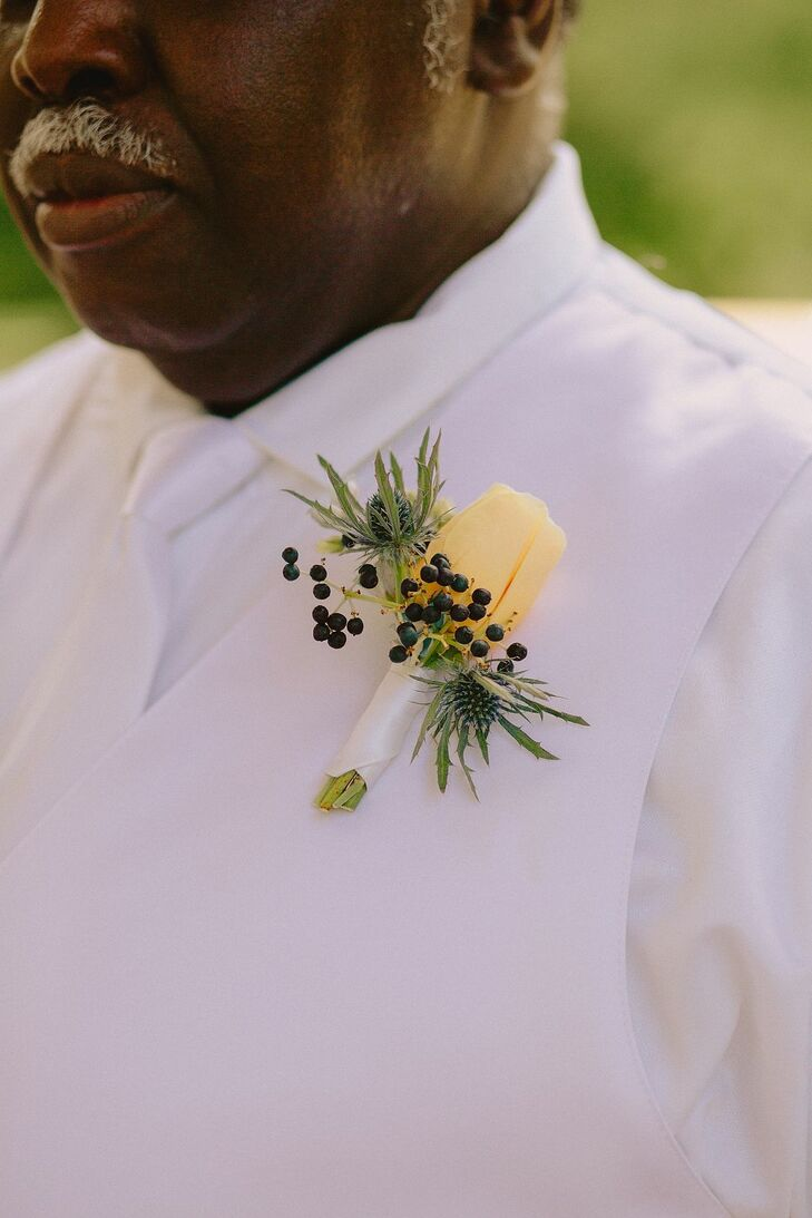 Yellow Rose Boutonniere for Wedding at Prospect Park in Brooklyn