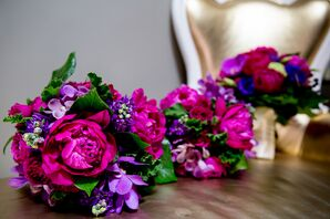 Fuchsia and Purple Flower Bouquets