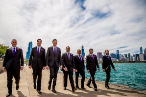 Charcoal Groomsmen Suits with Purple Ties