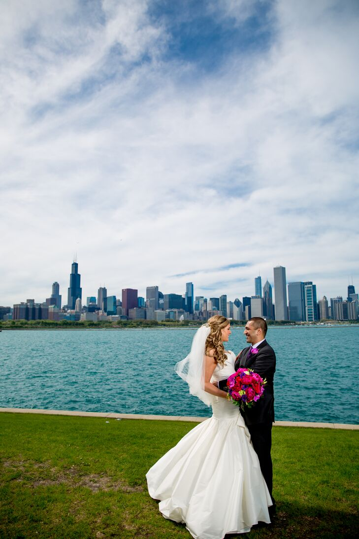 Bride and Groom with Chicago Skyline