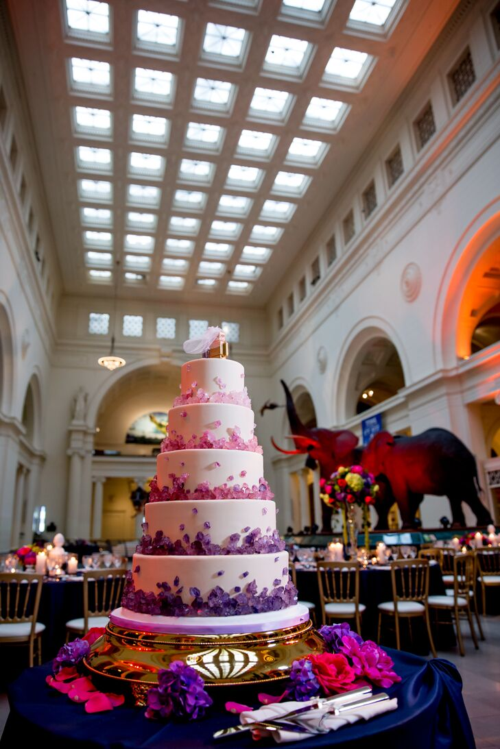 Five-Tier, Pink and Purple Wedding Cake