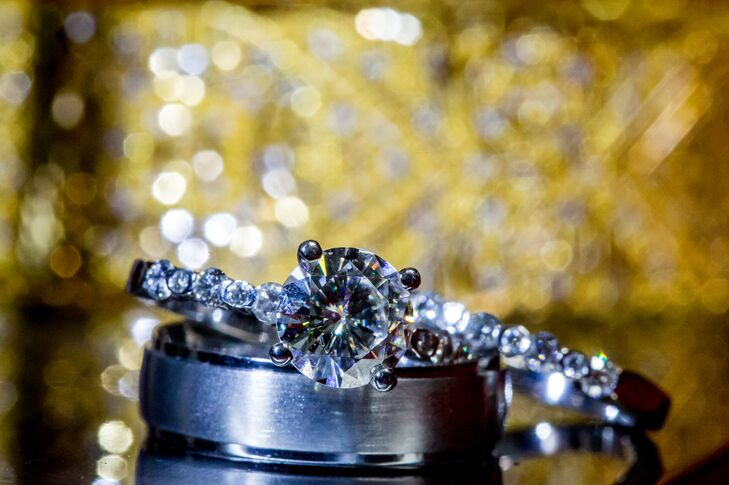"""Norm and Lauren are not fonds of the classic, diamond rings. """"We decided on a moissanite since its extremely sparkly and has a dash of science for Norm,"""" Lauren says."""