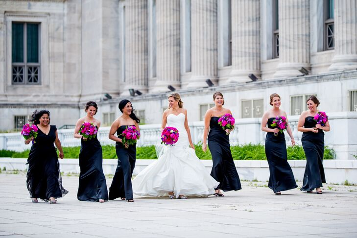 It only took the bridesmaid 15 minutes to choose their navy dresses.