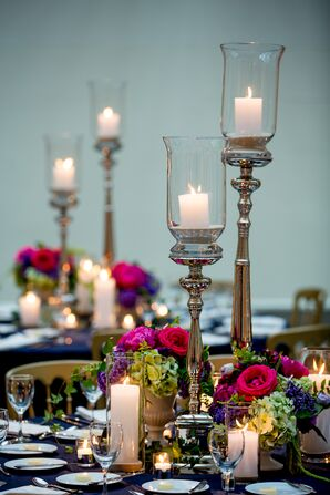 Tall Candles with Fuchsia Centerpieces