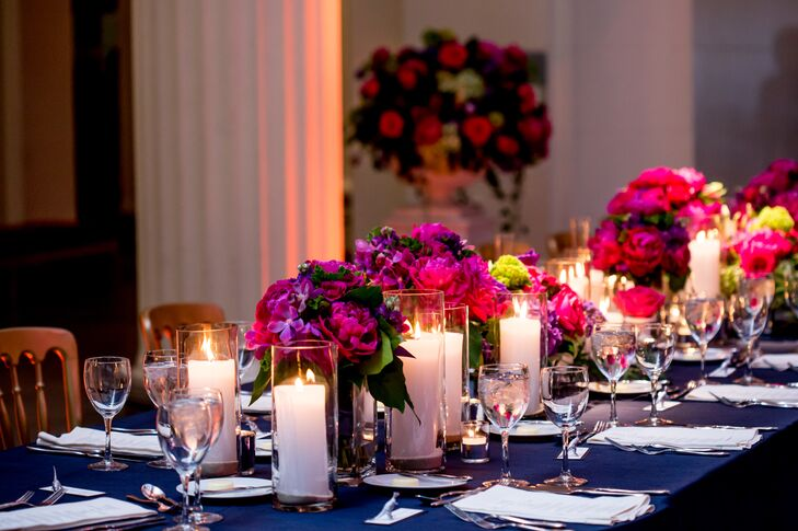 Fuchsia Centerpieces with Navy Tablecloths