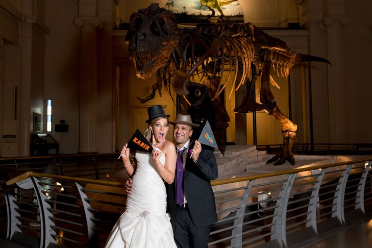 Norm and Lauren set up a photo booth in front of Sue the Dinosaur where guests could take serious or silly photos.