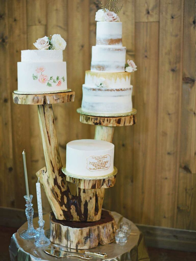 Wedding cake on multi-level tree stand tiers