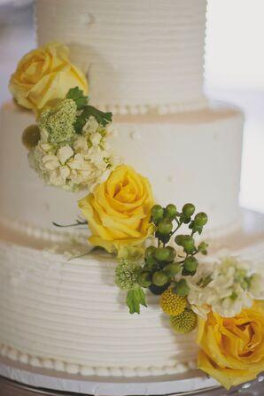 Yellow Rose, Green Hypericum Berry-Decorated Wedding Cake