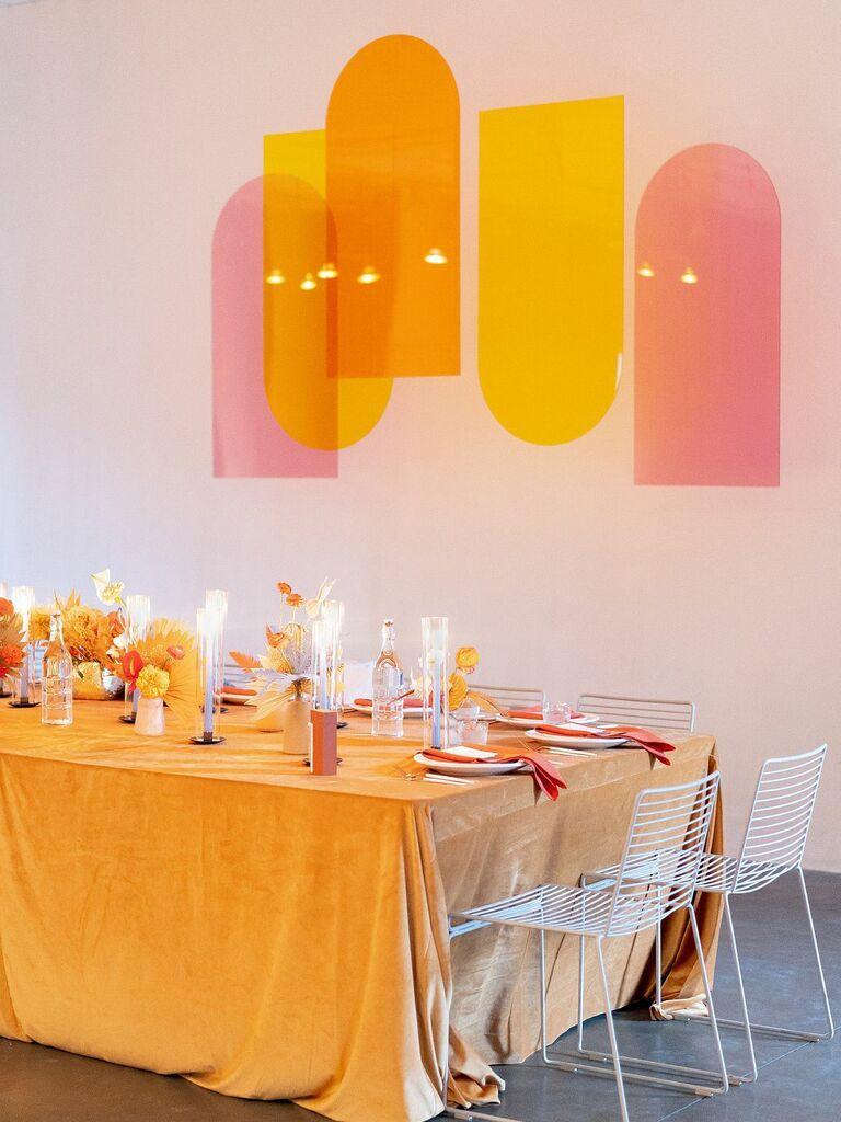 spring wedding centerpieces orange and yellow flowers