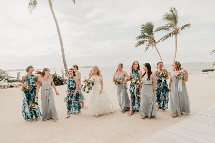 Tropical Bridesmaids in Mismatched Dresses