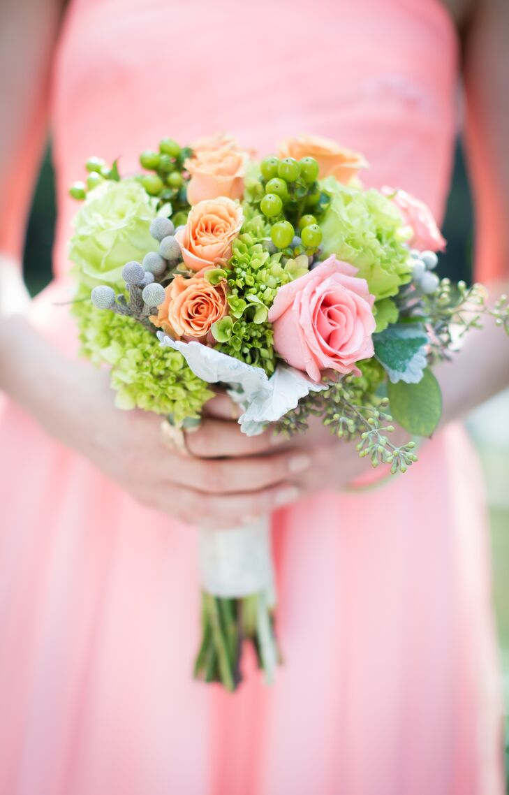 Bright shades of coral, pink, green and blue brought the bridesmaids' bouquets to life.