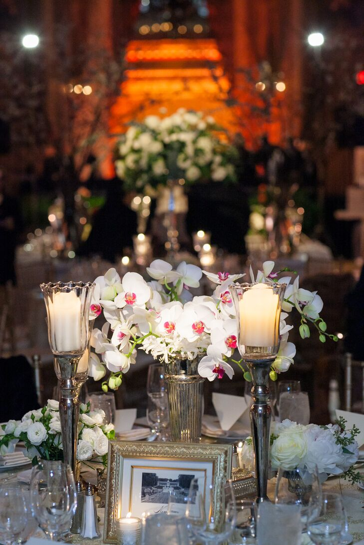 Red and White Orchid Centerpieces
