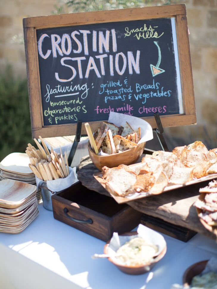 A crostini station at an outdoor wedding in California.