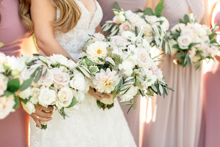 Romantic Bouquets with Roses, Dahlias, Eucalyptus, and Olive Foliage