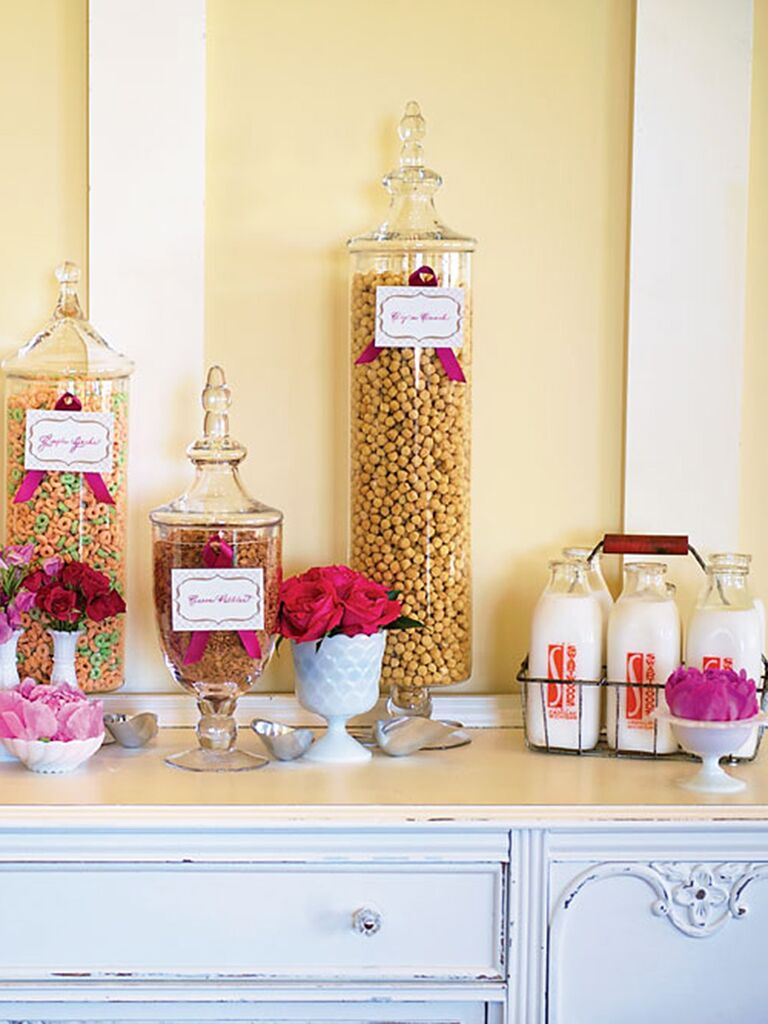 Cereal bar for a creative wedding reception menu idea