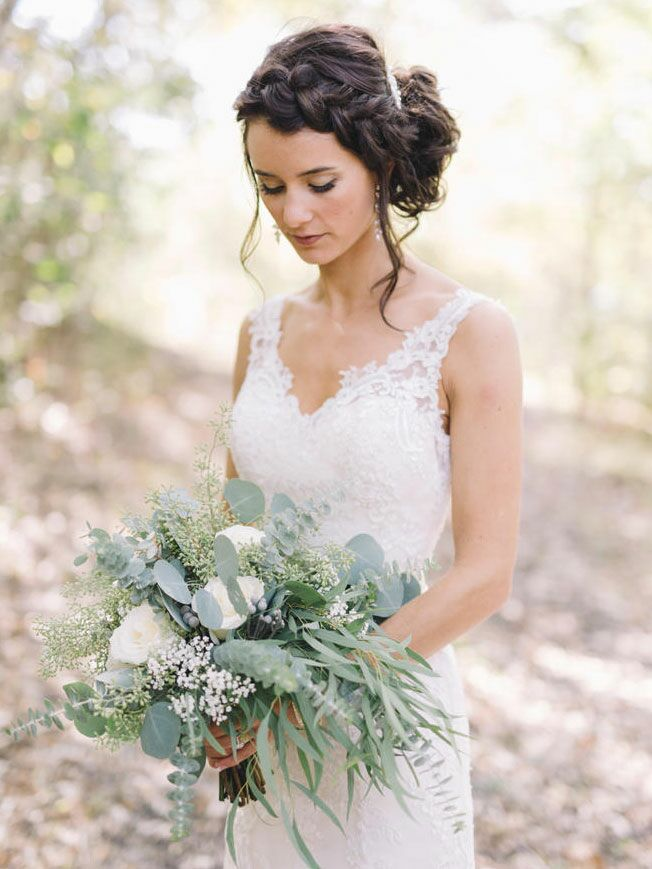 Boho wedding hairstyle with a braid for long hair