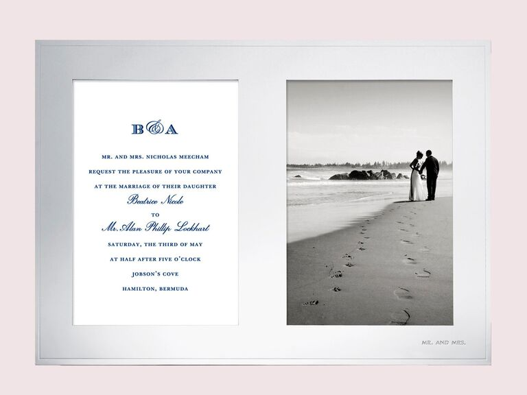 Wedding invitation and picture frame bridal shower gift