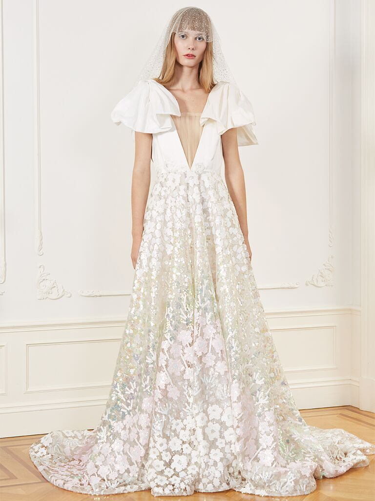 Honor A-line wedding dress with V-neckline, cap sleeves and colored floral embroidery