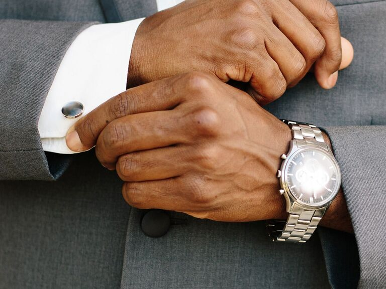 Groom with watch and cuff links; wedding day gift exchange ideas