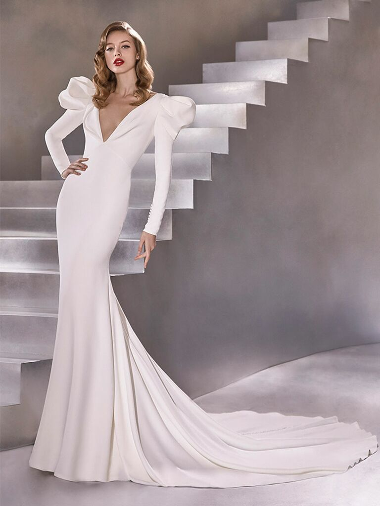 Atelier Provonias wedding dress long-sleeve trumpet gown with shoulder accents