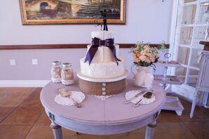 White Wedding Cake on Burlap Stand