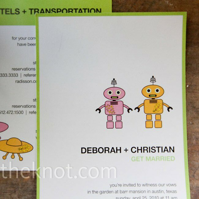 Christian designed the invitations, incorporating their sci-fi theme with robots and flying saucers.