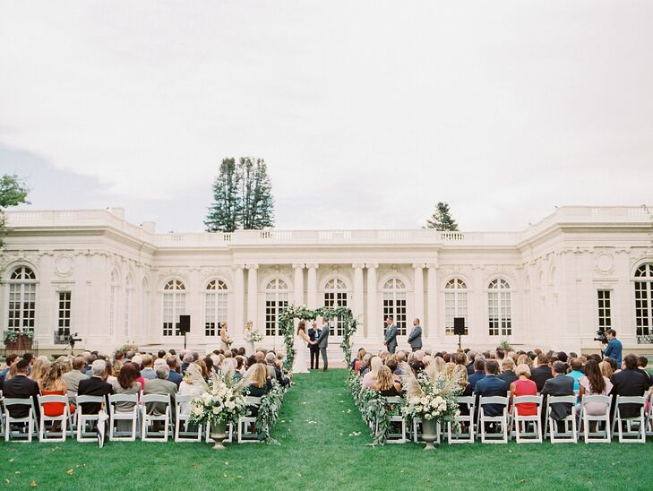 Classic Outdoor Ceremony with Greenery Arch