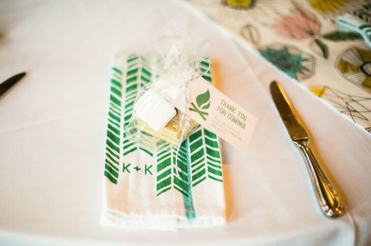 Cellophane wrapped s'mores packets were given to guests to be roasted at a bonfire during the reception.
