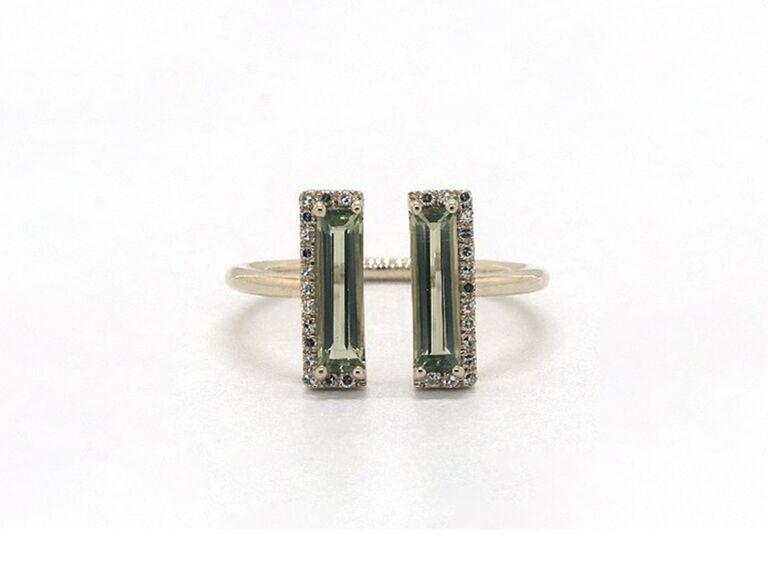 open peridot engagement ring