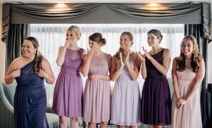 Bridesmaid Dresses in Shades of Purple and Blush