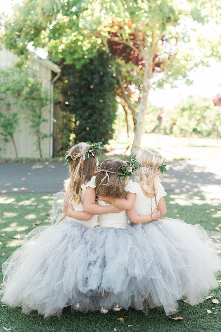 Flower Girls with Crowns and Blue Tutus