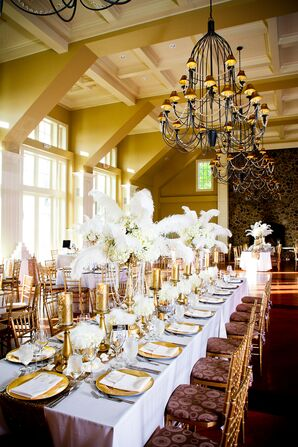 White Hydrangea and Feather Centerpieces With Pearls