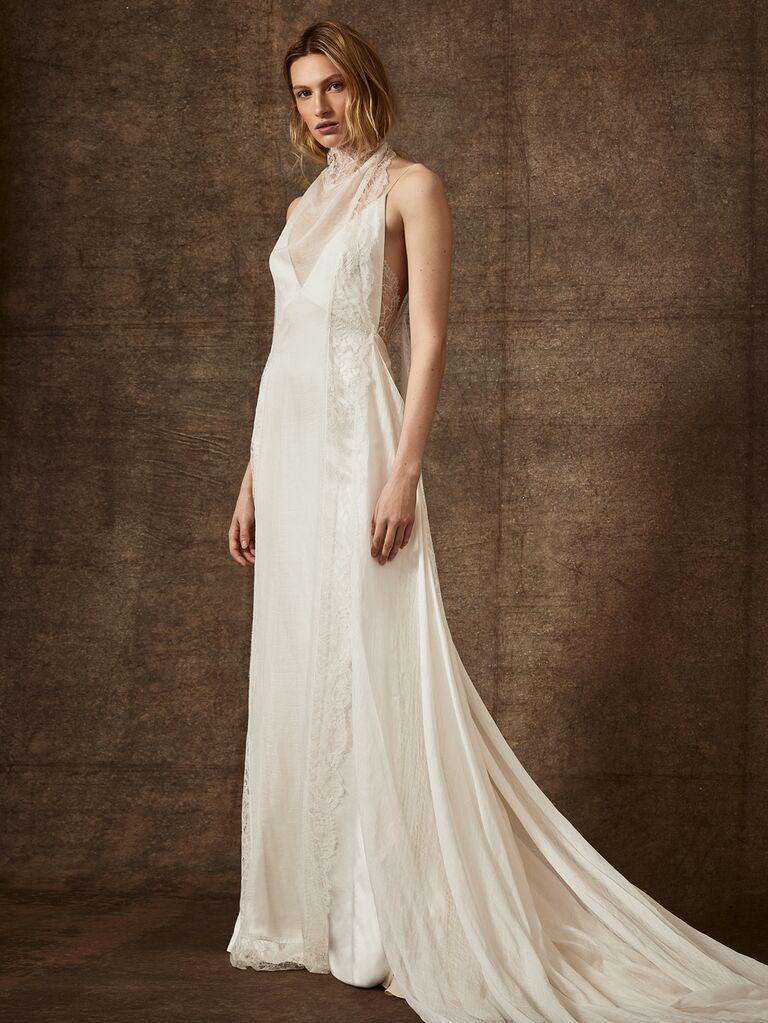 Danielle Frankel Spring 2020 Bridal Collection sheath high-neck wedding dress with illusion neckline