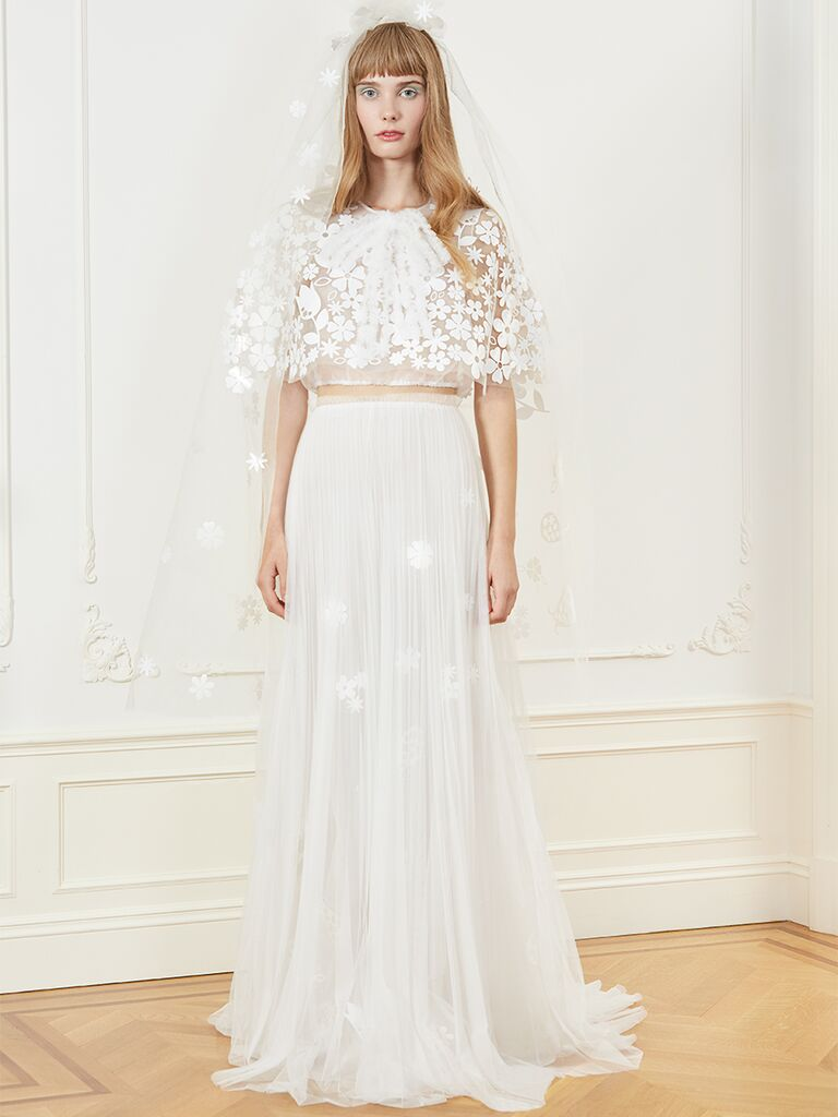 Honor two-piece wedding dress with sheer crop top