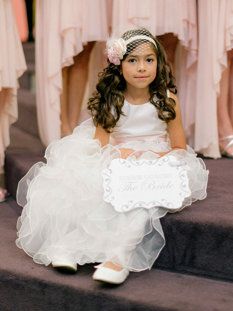 1b710f5b8 Long curly hairstyle with headband for flower girls