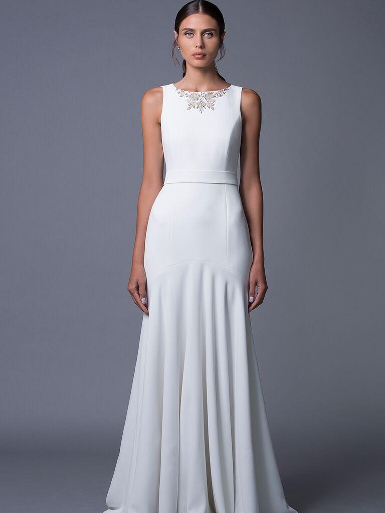 Lihi Hod 'Noa' crepe wedding dress with neckline embellishments for Fall 2017