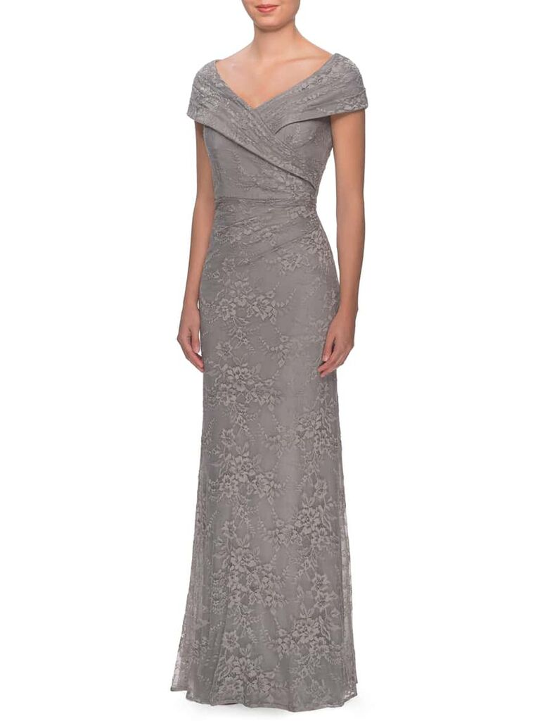 Evening gown with portrait neckline and embroidered lace