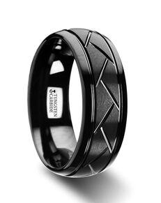 Mens Tungsten Wedding Bands W2964-BTDC Tungsten Wedding Ring