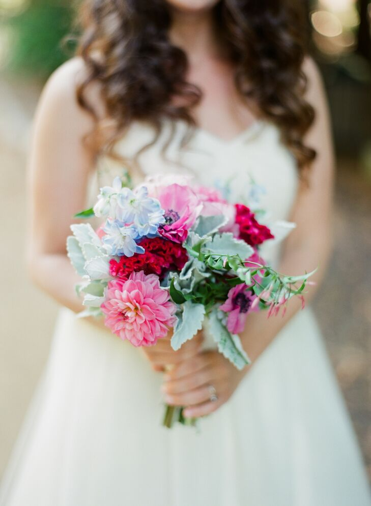 Florist Alicia Kay created the garden-fresh bouquet with succulents and bright pink and fuchsia flowers.