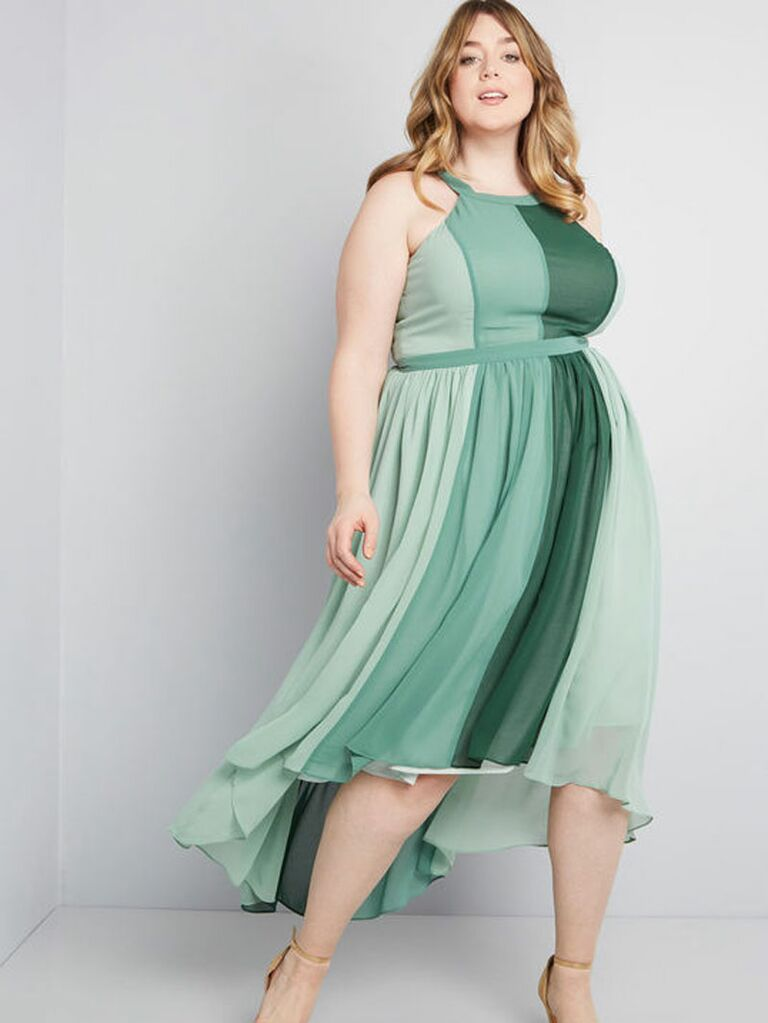 Green striped spring wedding guest dress