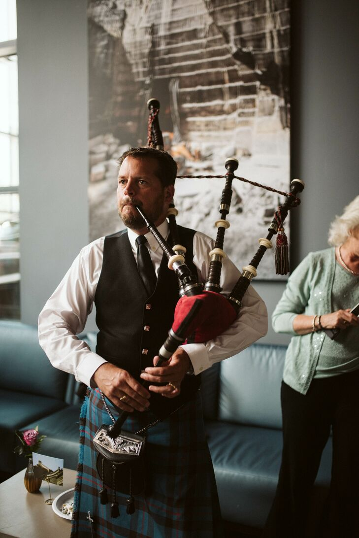 Traditional Bagpipe Musician at Reception