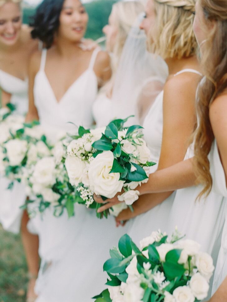 Bridesmaids in White Dresses at Wye River Estate Wedding