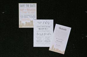Neutral Nashville Skyline Invitations