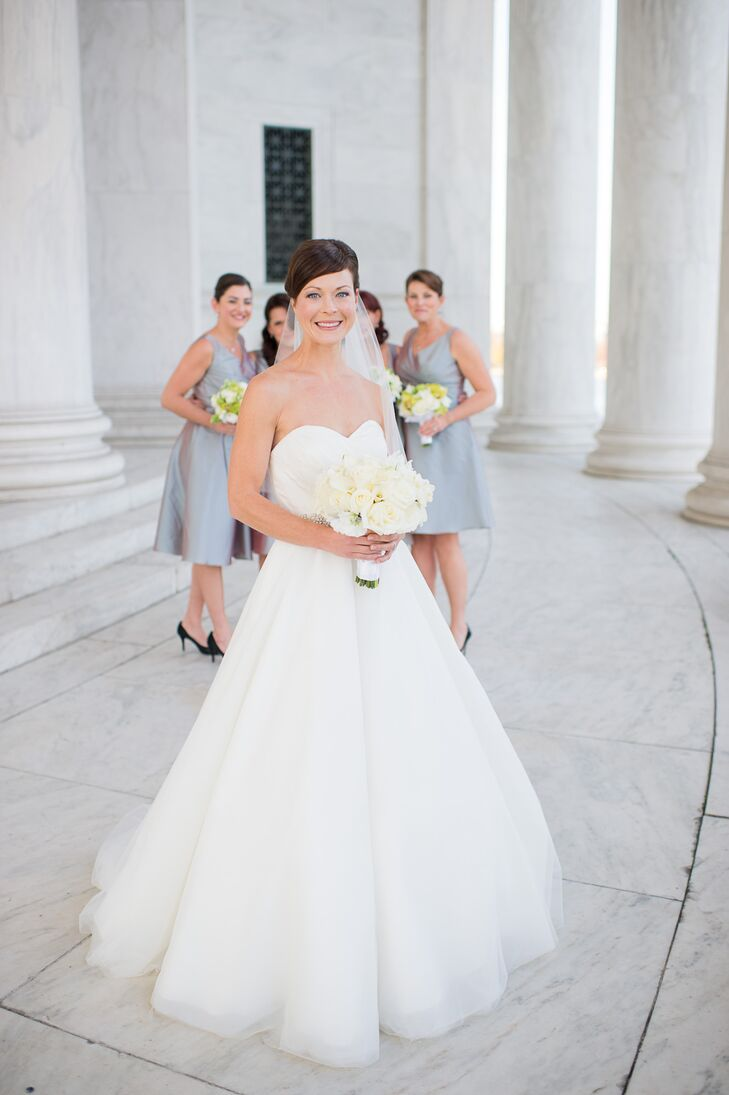 """I wanted something 'big'"" she says of her Matthew Christopher ball gown. ""There was probably about 30 layers of tulle and other types of fabric and I didn't remove any of them!"" The gown had a sweetheart neckline and simple bodice that perfectly complemented its ball gown skirt."