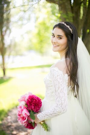 Bejeweled Headband and Floor-Length Tulle Veil