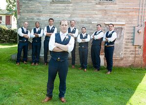 Navy Linen Vests and Pants With Pink Ties