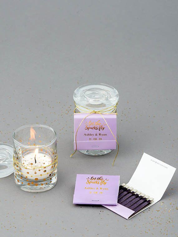 'Let sparks fly' personalized matches for a cute bridal shower favor idea