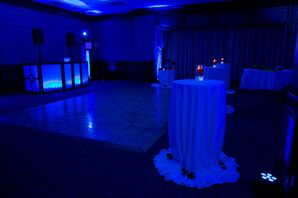 Lounge-Inspired Ballroom Reception with Blue Uplighting