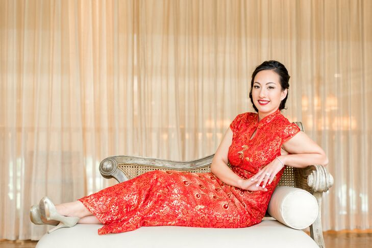 "To embrace Jasmine's Chinese heritage, the couple had a tea-pouring ceremony at the hotel the morning of the wedding. ""This was especially meaningful because it was just our immediate family, and it is something my parents did when they got married,"" Jasmine says."