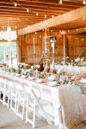 Reception with Candelabras, Chandeliers, String Lights and Patterned Linens